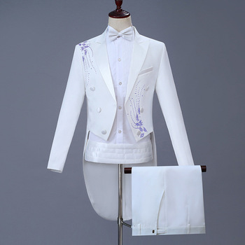 Fashion Male Host Stage White Tuxedo Singer Concert Performance Costumes Men's Wedding Banquet Dress Talicoat Men Long Suit Coat