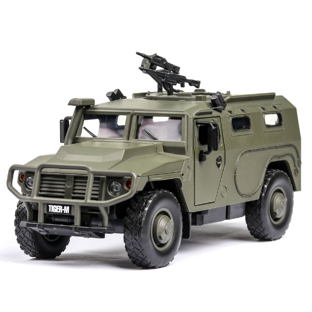 игрушки 1:32 Military Tiger Explosion-proof Armored Vehicle With Acousto-optic Door Opening Alloy Toy Model  Boy Toy Kid Toys