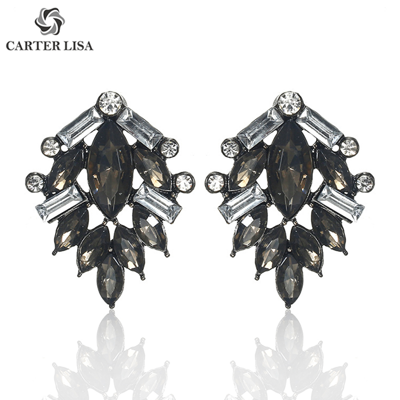 CARTER LISA Charm Black Crystal Crystal Drop Dangle Earrings For Women Rhinestone Bridesmaid Wedding Earrings Party Jewelry