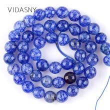 Natural Gem Blue Faceted Dragon Vein Agates Beads For Jewelry Making 6 8 10mm Spacer Stone Beads Diy Bracelet Necklace 15'' oval shape star stone corundum cabochon blue stone beads for jewelry making diy faceted blue stones