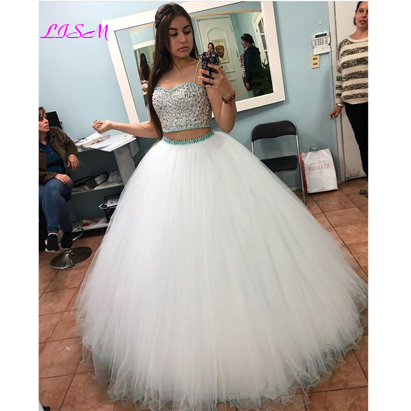 Two Pieces Ball Gown Quinceanera Dress <font><b>Sexy</b></font> Spaghetti Straps Crystal Beaded Plus Size <font><b>Girls</b></font> Sweet <font><b>16</b></font> Dresses Tulle 15 Years Gown image