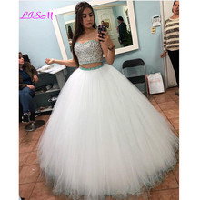 Two Pieces Ball Gown Quinceanera Dress Sexy Spaghetti Straps Crystal Beaded Plus
