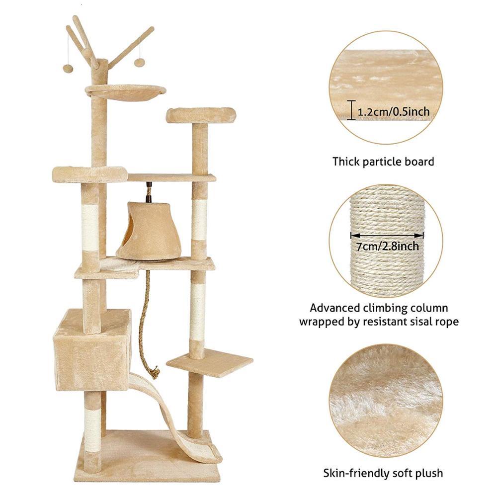 Gato poste para rascar s sisal Big Cat Tree Tower mueble de condominio poste para rascar juguete saltarín con escalera para gatitos Pet House Play C05 - 5
