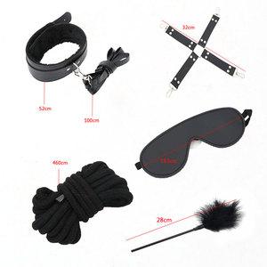 Image 4 - Kit Restraint fetiche BDSM Bondage Sexo Jogos Eróticos Acessórios Casais Máscara Boca Colarinho Algemas Mordaça Sex Toys para Mulheres
