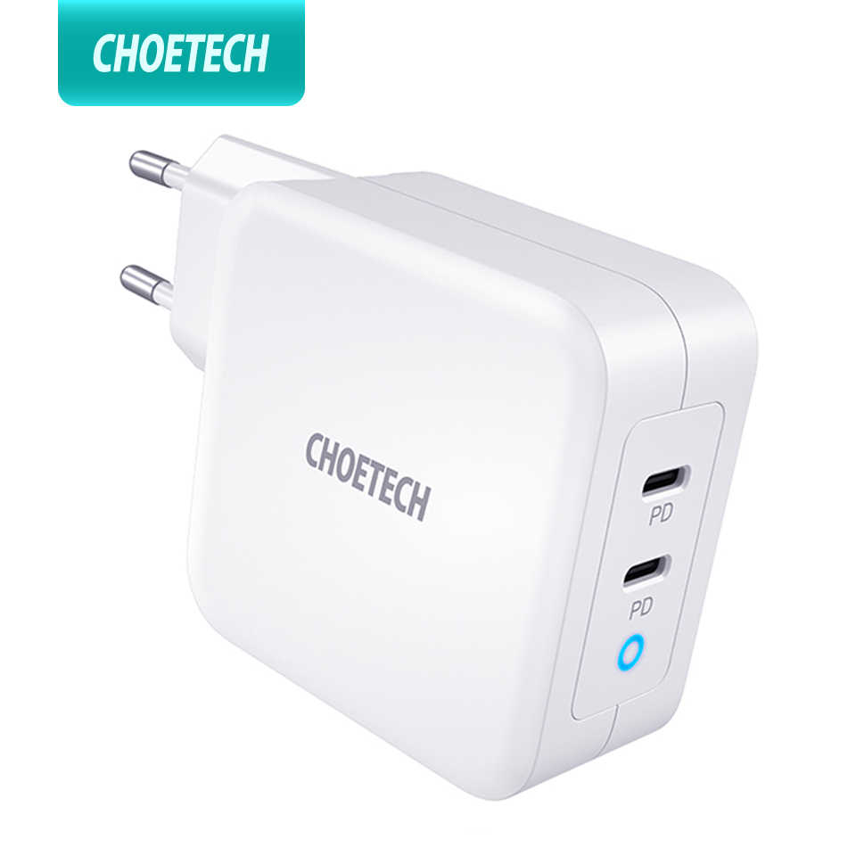 CHOETECH PD 100W GAN Dual USB Type C สำหรับ MacBook Air iPad iPhone 11 Pro Samsung Huawei ASUS wall Charger สำหรับ Lenovo DELL