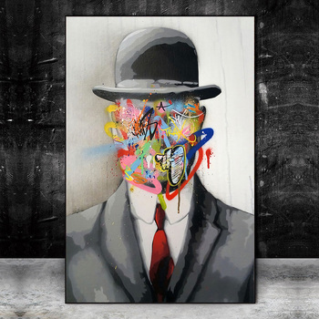 Abstract Street Art Graffiti Magritte Painting Printed on Canvas 3