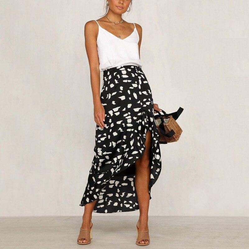 Woman Long Grid Skirt Solid Color Front Cross Split Maxi Beach Skirt S-XL 3Color