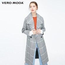 Vero Moda Stile di OL delle Donne Plaid Risvolto Trench E Impermeabili Coat | 319121521
