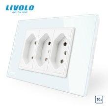 Livolo Brazilia 표준 3 핀 10A/20A 소켓 유형 N 플러그, 3 핀 구멍 벽 전원 소켓, 유리 패널