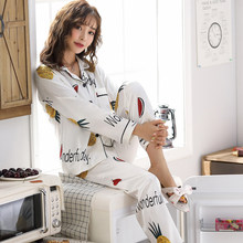 Women pajamas satin silk 2 pieces ladies Pyjamas Sets Long Sleeved Turn-down Collar Pocket Decor with Button Top+Pants home suit(China)