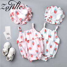 ZAFILLE Baby Girl Clothes Summer Ropa De Bebe Baby Romper Baby Clothes Girl Cotton Bodysuit Strawberry Printed Newborn Romper new baby boy clothing set summer baby cotton bodysuit elephant printed romper animal bibs 3pcs set newborn baby girl clothes