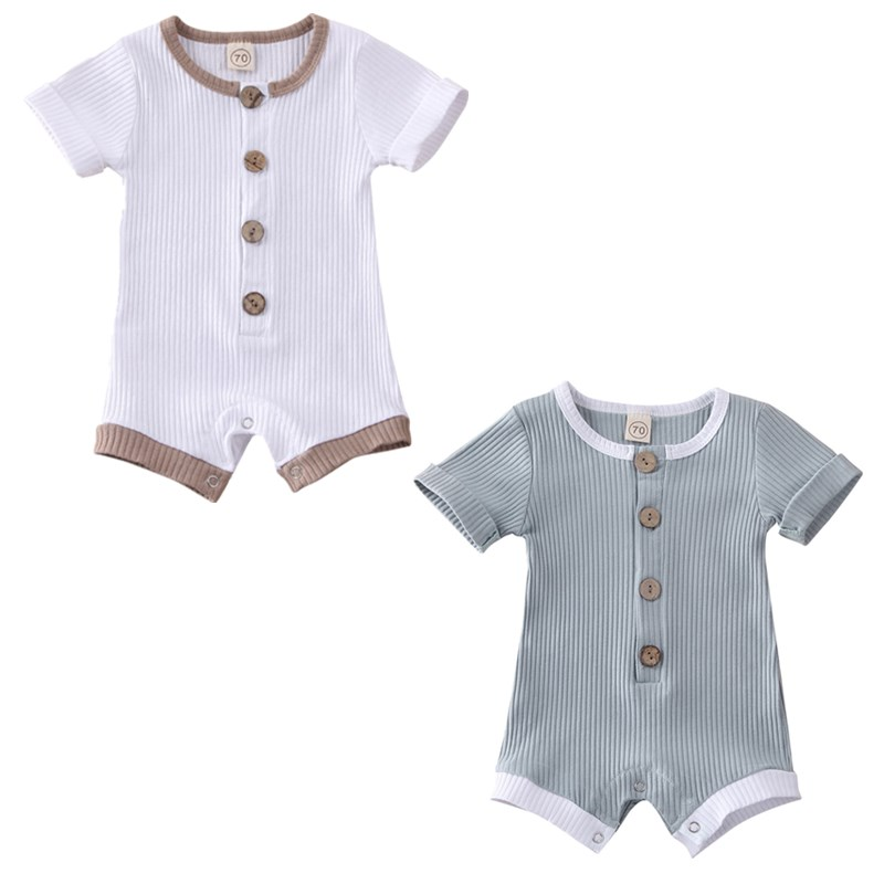 Newborn Baby Boys Girls Rompers 2020 Summer Short Sleeve Romper Infant Solid Button Rompers One Piece Jumpsuit Outfits Playsuit
