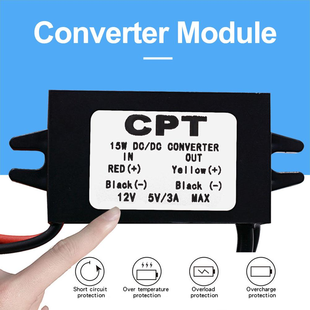CPT DC-DC Converter Regulator 12V To 5V 3A 15W 2 USB-Port Waterproof Car Led Display Power CPT Car Power Step Down Regulator enlarge