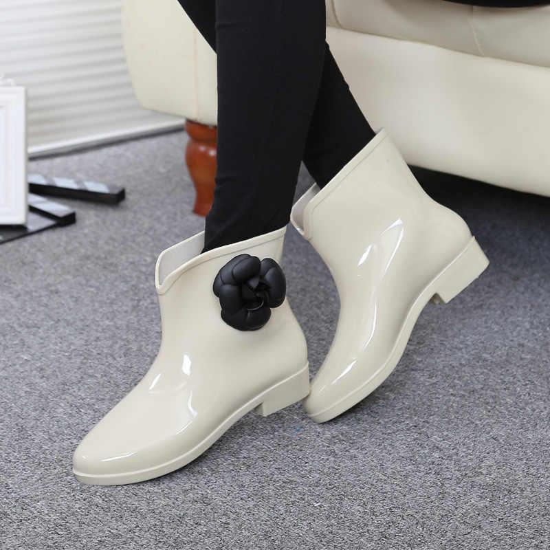 Dropshipping Frauen Schuhe Blume Bowtie Herbst Ankle Boot Winter Regen Stiefel Weibliche Wasserdichte Feste Gummi Schuhe Damen Schuhe