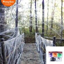 Teia de aranha artificial halloween decoração assustador festa cena adereços branco elástico cobweb horror casa decoração acessórios