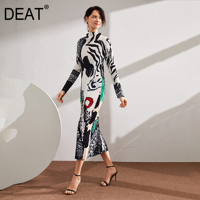Zebra Pattern Hit Color Over Long Elegant Stand Collar stand out and up 1