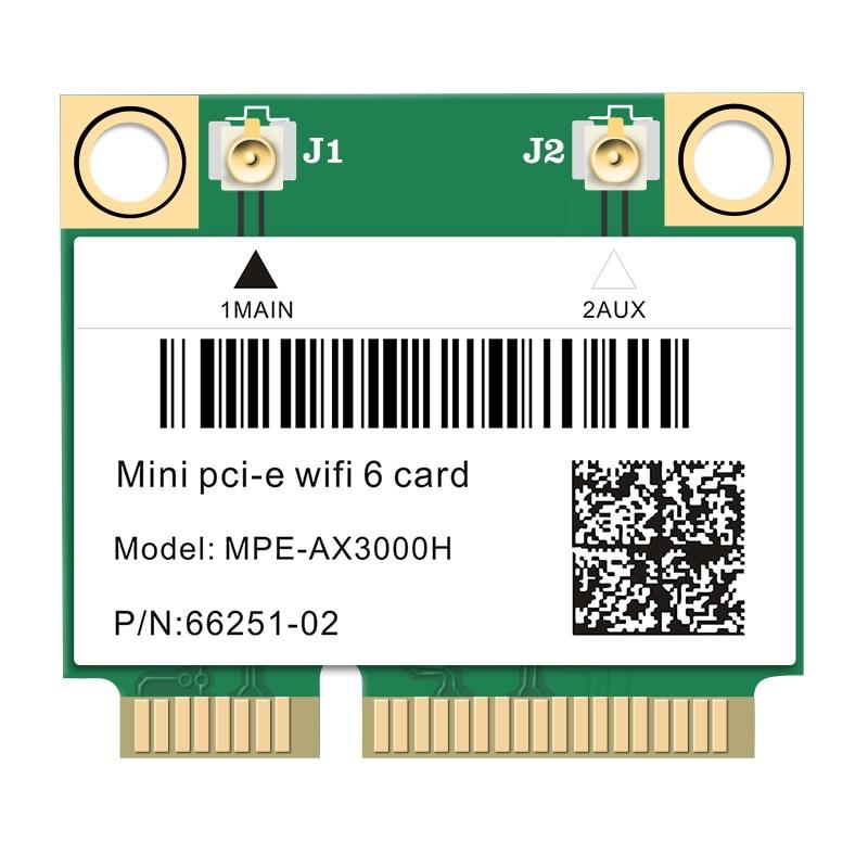 2974Mbps Wifi 6 Dual Band Wireless Half Mini PCI-E Network Wlan Wifi Card Bluetooth 5 0 802 11ax ac 2 4Ghz 5Ghz Adapter MU-MIMO