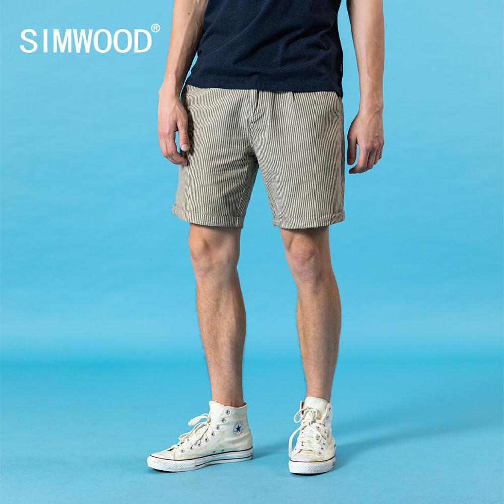 SIMWOOD 2020 Summer New Italian Style Shorts Men Vintage Vertical Striped Garment Dyed Plus Size 100% Cotton Shorts SJ130255
