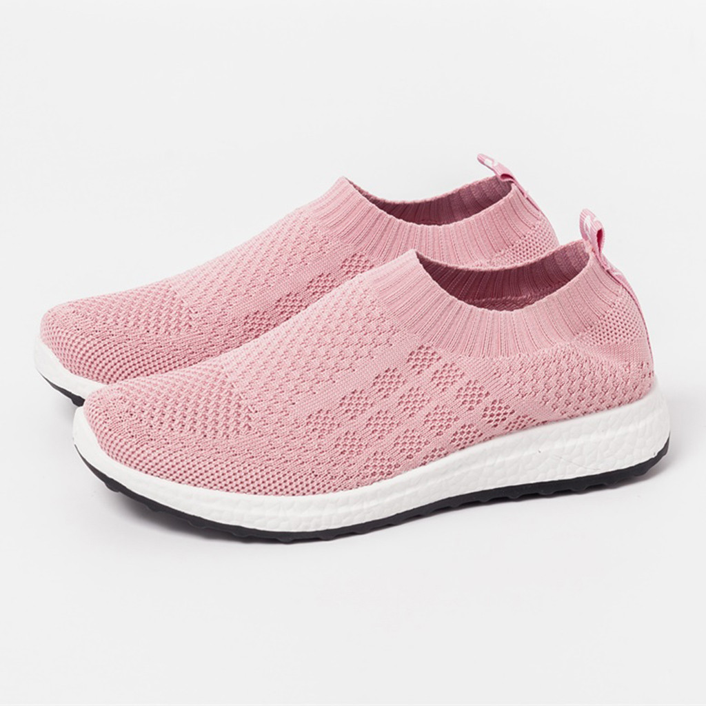 New Women's Solid Color Flying Woven Mesh Sneakers Casual Shoes A Pedal Lazy Shoes Walking Walking Shoes