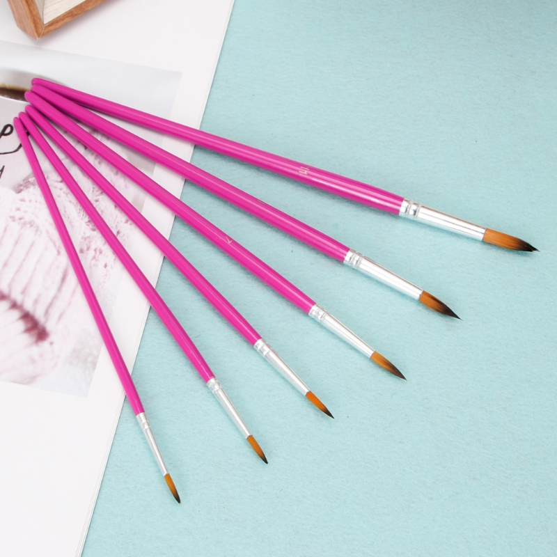 5/6Pcs Nylon Wooden Paint Acrylic Watercolors Oil Painting Artists Brushes Kit 746D