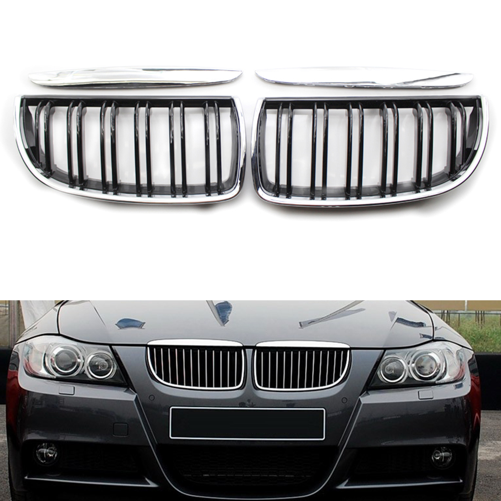 Pair Front Bumper Kidney Grille Grill Glossy Black Dual Double Line Compatible with BMW 3 Series 06-08 E91 E90 316i 318i 320i 323i 325i 328i 330i 335i
