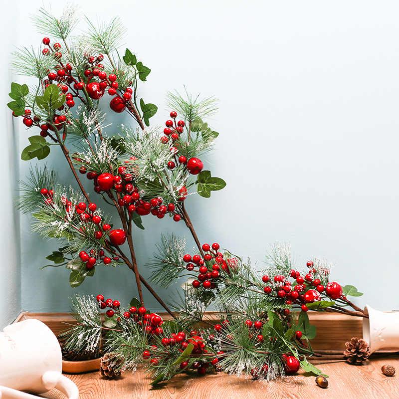 Christmas Artificial Flower Branch Pine Berry Cone Fruit Home Xmas Floral Decor