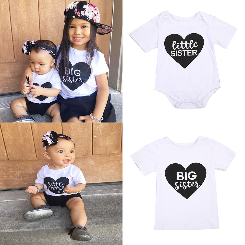 Big/little Sister Matching Clothes Newborn Infant Baby Cotton Romper Kids Short Sleeve Tshirt Outfit Siblings Matching Clothes
