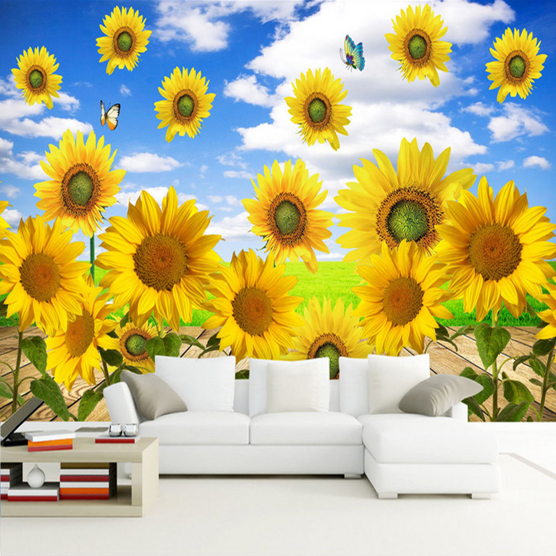 Custom 3D Photo Wallpaper Blue Sky White Clouds Sunflower Non-woven Fabric Wallpaper For Living Room Bedroom Mural Wall Painting