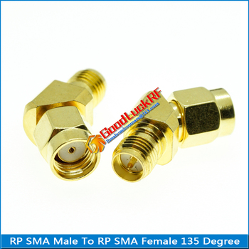 RP SMA To RP SMA Connector Socket type-L RP SMA Male to RP SMA Female 45 135 Degree Oblique Angle Gold Brass Coaxial RF Adapter sale 10 pcs adapter rp sma male jack to rp sma female connector straight gold plating high quality minijack plug wire connector