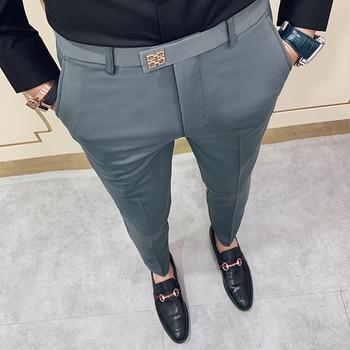 Pantalones Hombre Spring 2020 Pants Men Korean Slim Fit Men Casual Ankle Length Pants Streetwear Man Trousers Men Black Gray