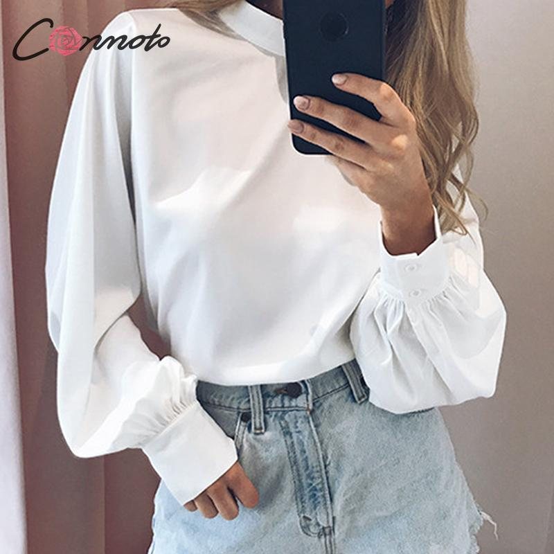 Conmoto White Vintage Club Blouses Women Satin Turtle Blouse Shirts Plus Size Autumn Winter 2019 Femme Solid Blusas