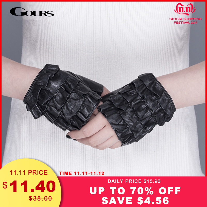 Gours Spring Womens Genuine Leather Gloves Driving Unlined Black Fashion Goatskin Fingerless New Arrival GSL062