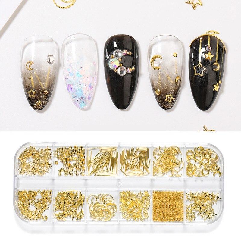 1 коробка, 12 ячеек, металлические бусины в форме Луны и звезды, украшения для ногтевого дизайна для женщин, Роскошные 3D Подвески, стразы, драг...