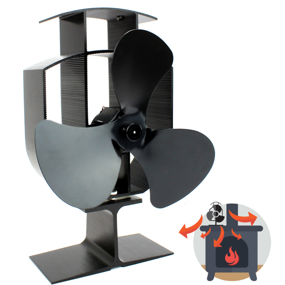 Black Quiet Stove Fan 3 Blade Fireplace Fan Heat Powered Wood Burner Fan Efficient Heat Distribution Fireplace Accessories