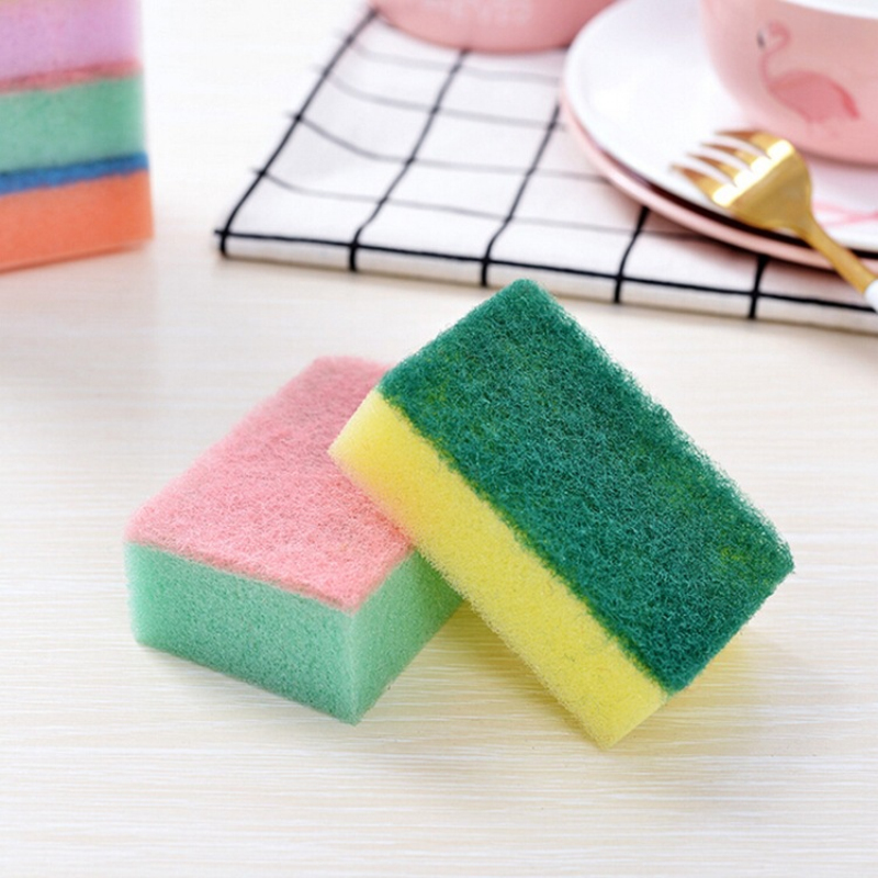 1/5/10pcs Multifunctional Household Dishwasher Sponges Brush Set Kitchen Cleaning Tools Colored Sponge Scouring Pads TSLM1