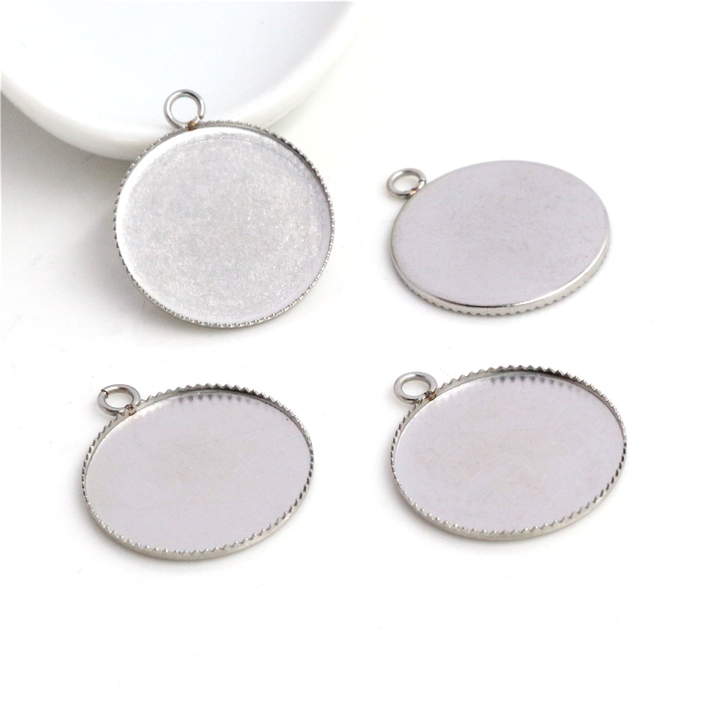 ( No Fade ) 20pcs 20mm Inner Size Stainless Steel Material Simple Style Cabochon Base Cameo Setting Charms Pendant Tray (T7-37)