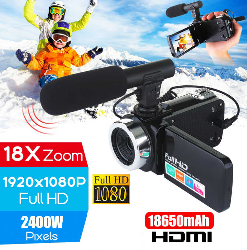 Professionelle 4K HD Kamera Camcorder Video Camcorder 24MP 3 Zoll Bildschirm 18X Zoom Digital Kamera