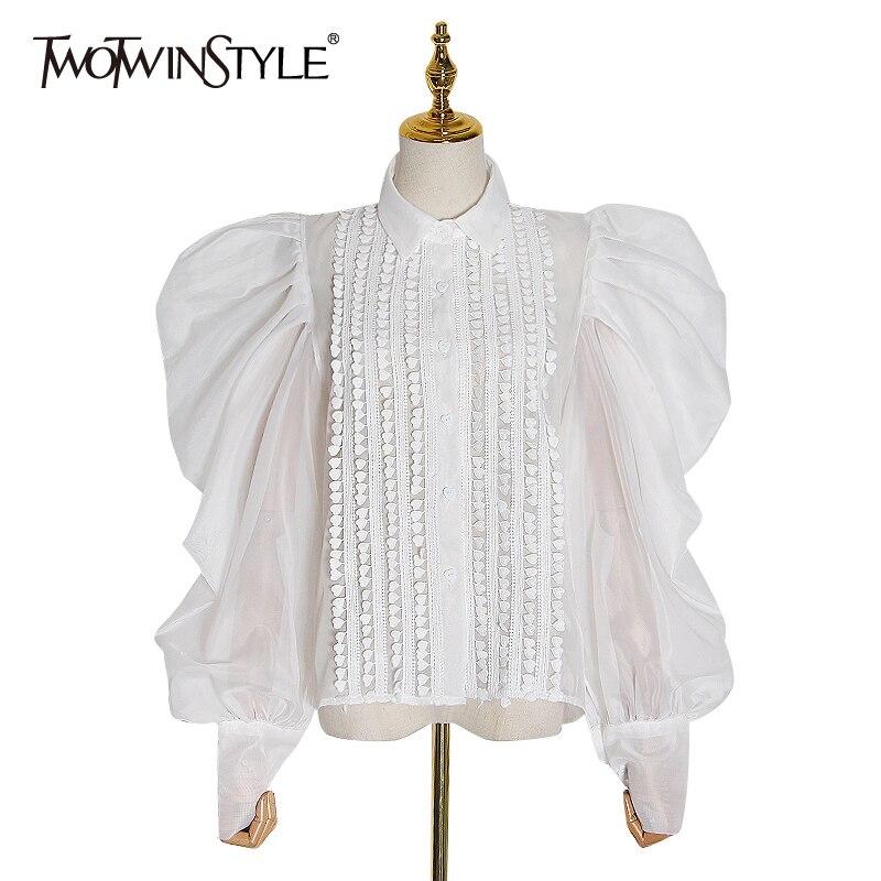 TWOTWINSTYLE Patchwork Mesh Appliques Shirt Women Lapel Collar Lantern Long Sleeve Tunic Ruched Elegant Ladies Blouses 2020 Tide