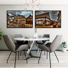 Скандинавские великие здания темные облака висят над плакат