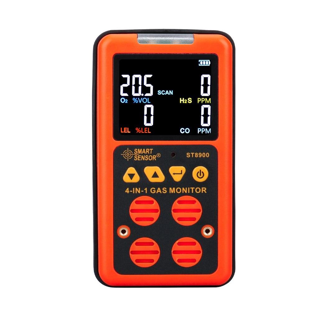As8900 multi monitor de gás handheld oxigênio o2 hydrothion h2s monóxido de carbono co gás combustível 4 em 1 analisador de gás