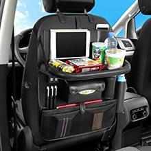 AUCD tylnym siedzeniu organizator samochodu z uchwyt na Tablet i 4 Port ładowania USB, organizator samochodu dla dzieci maluchy zabawki butelki Sto