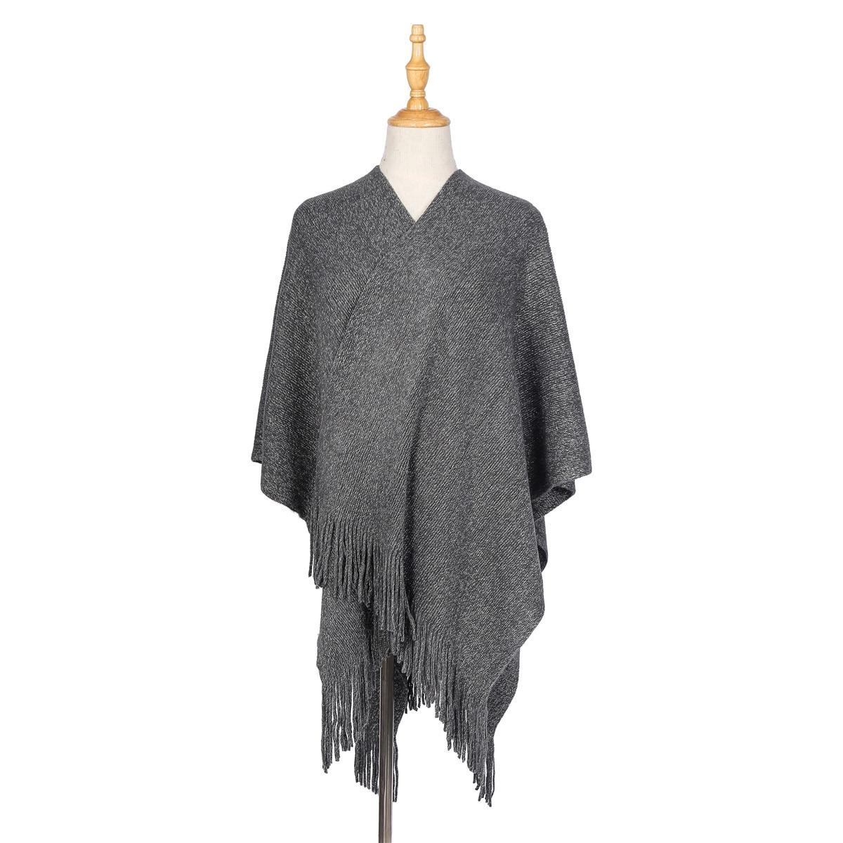 New Women Ladies Soft Wooly Blanket Cape Shawl Poncho Scarf Wrap Tassel Fringe