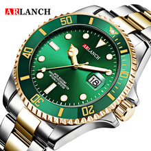 New Fashion Mens Watches Gold Green Steel Quartz Wrist