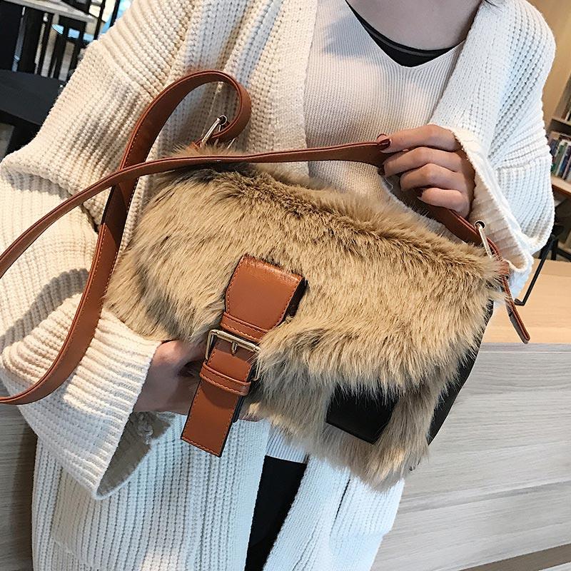 Mode fourrure femmes sacs à bandoulière Deisgner grand sac à bandoulière grande capacité Totes rabat femelle hiver sauvage poilu sac de messager 2019