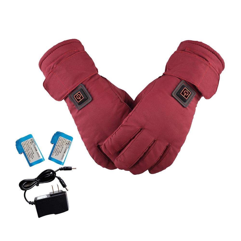 Женские перчатки с электрическим подогревом, водонепроницаемые перчатки с регулируемой температурой и литиевым аккумулятором для активного отдыха, лыжного спорта, мотоцикла, велоспорта