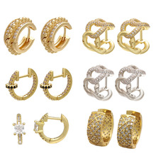 1 Pair Small Hoop Earrings Women T CZ Rainbow Jewelry Gold Silver Color Bling Mini Hoops Earring Indian Thick Chain Cross