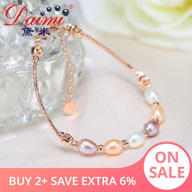 DAIMI Multi Pearl Bracelet Fashion Tube Bracelet 6mm Rice Pearl Adjust Bangle