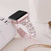 Luxury diamond Bracelet Stainless Steel band for apple watch series 1 2 3 42mm 38mm Bracelet strap for iwatch 6 SE 5 4 40mm 44mm