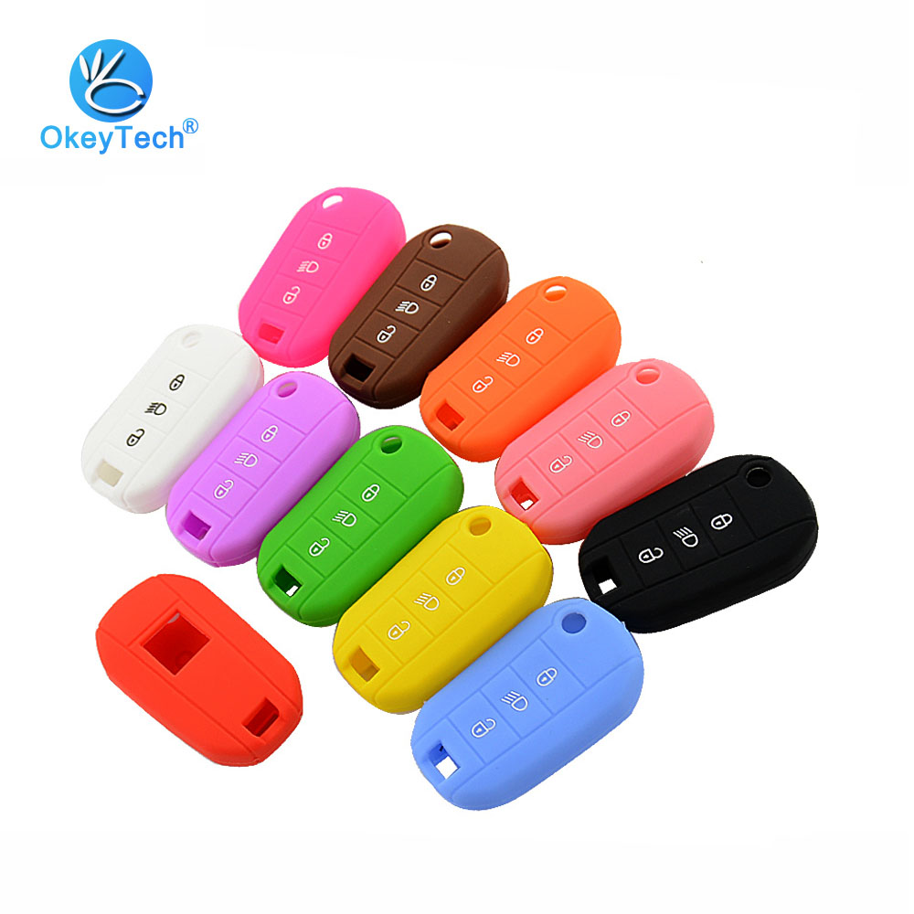 OkeyTech 3 Button Silicone Rubber Car Key Case For Peugeot 3008 208 308 508 408 2008 Protector Cover Holder Skin Car Accessories