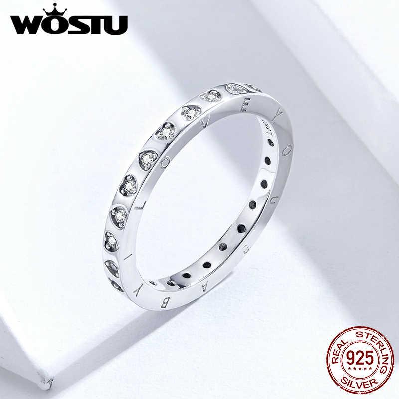 WOSTU אמיתי 925 כסף סטרלינג אופנתי טבעות בהיר זירקון לב חתונה טבעת אצבע לנשים תכשיטי המקורי CQR633